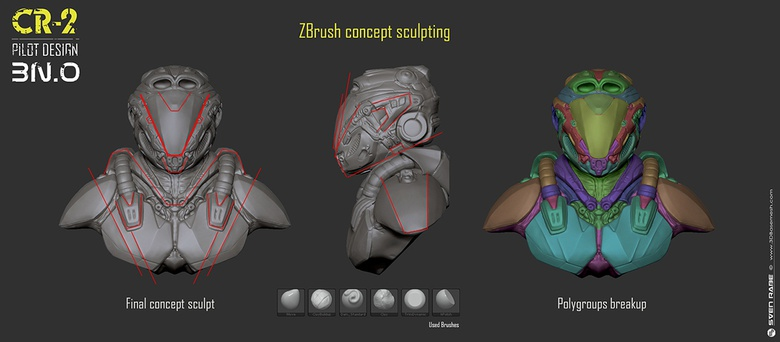 Final concept sculpt and polygroups breakup