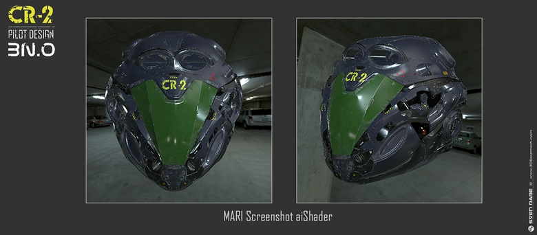 Helmet screenshot out of MARI with the aiShader
