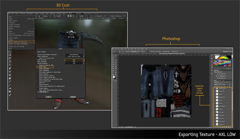 Exporting the maps in to Photoshop makes adjusting the textures easier