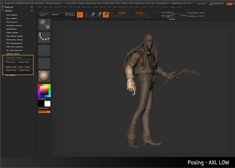 Posing the character to give it some life