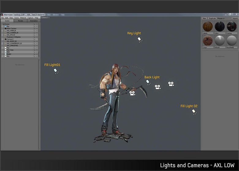 Lighting the character in Marmoset
