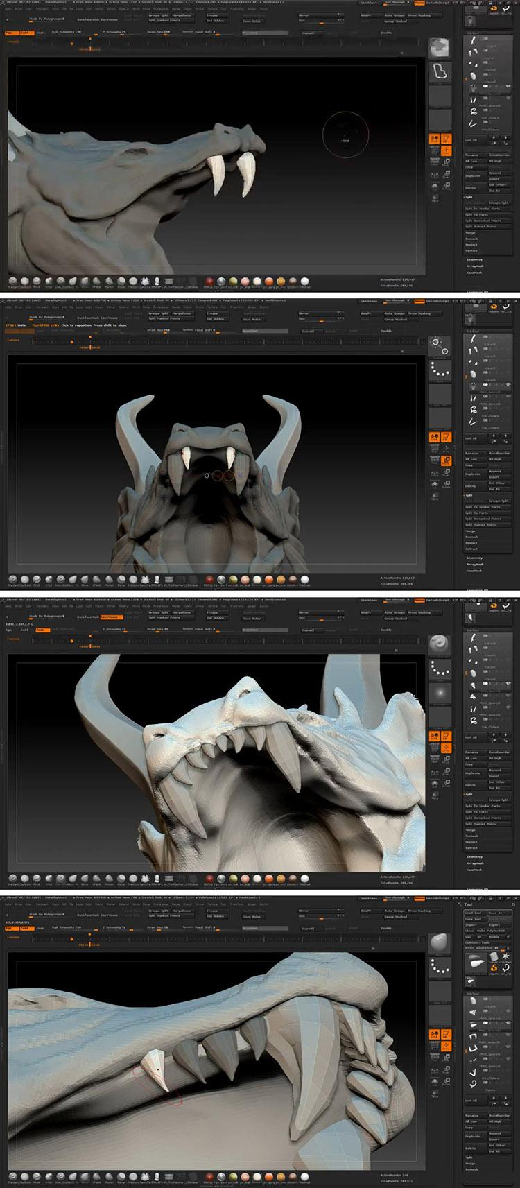 <h5>Creating teeth and horns</h5>