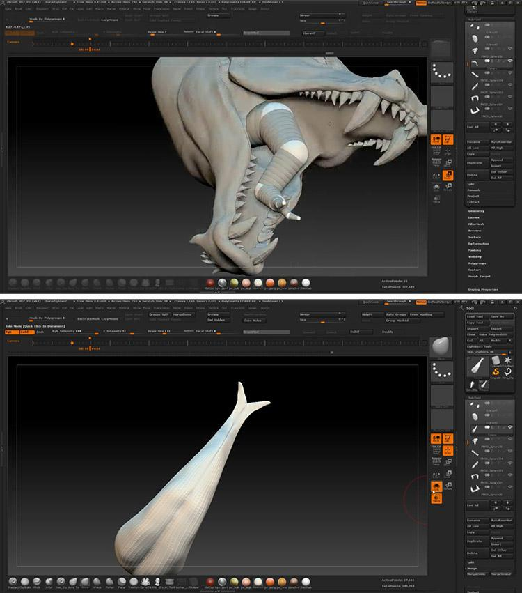 <h5>Creating the tongue with ZSphere</h5>