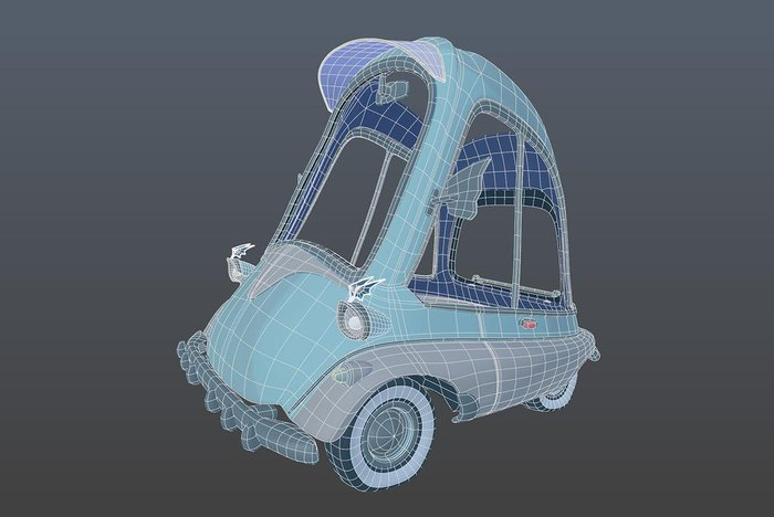 A wireframe of the car. I put teeth on the bumper to reflect the teeth in his mouth