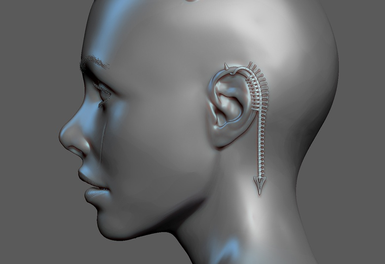 A ZBrush snapshot showing her earring detail