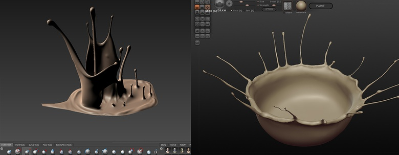 Adding detail with Mudbox (left) or Sculptris (right)