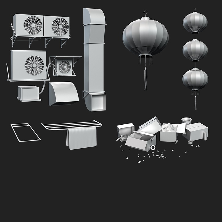 I created a collection of various AC units, boxes, windows, awnings, pipes, and other objects to populate the scene