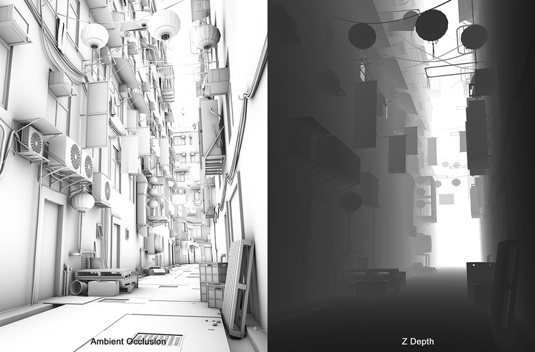 I rendered a separate pass for Ambient Occlusion and Z Depth to help with compositing in Photoshop