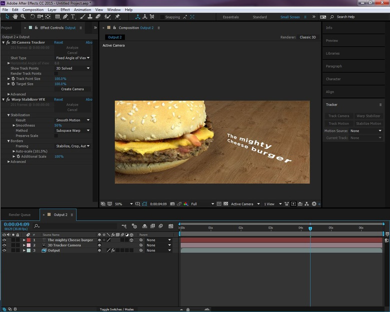 Blend CG and live action using the built in tracking tools