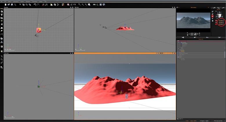 Creating the main terrain for the scene