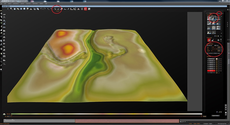 Sculpting the terrain to the shape I need for the bridge, hut, and small stream