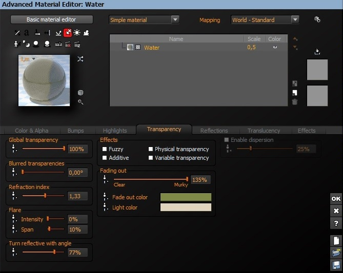 The settings for the water material