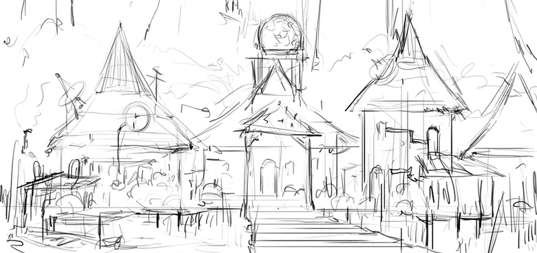 With this quick sketch I visualize the main idea of the painting