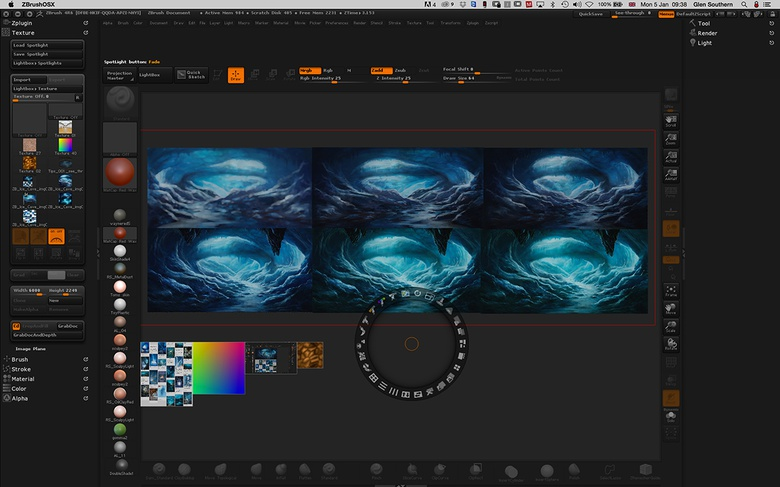 Starting in ZBrush with Spotlight allows me to add the images I've created and collected to a Spotlight library in ZBrush