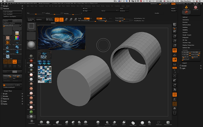 To begin modeling the cave sections, I make a tube using a Cylinder3D from the tool palette and edit it in the Initialize panel