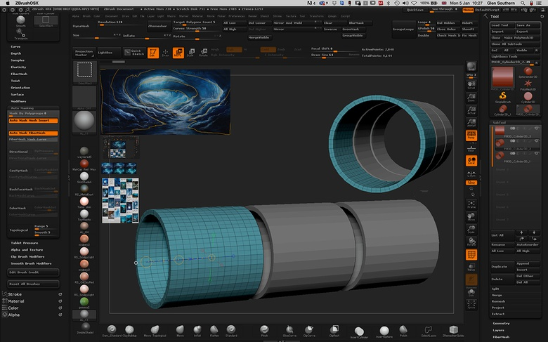 Duplicate the tube to make the cave sections. Either keep the tubes as a single SubTool or separate them individually