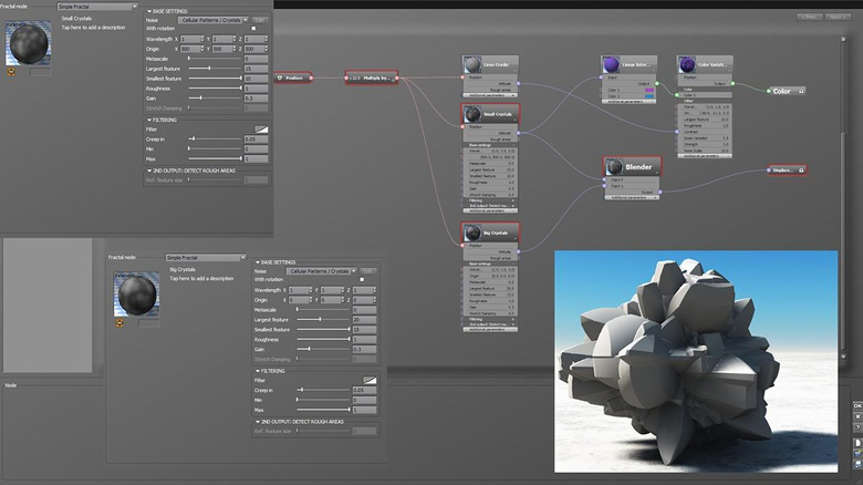 In this image you can see both fractal settings and a preview of the resulting displacement