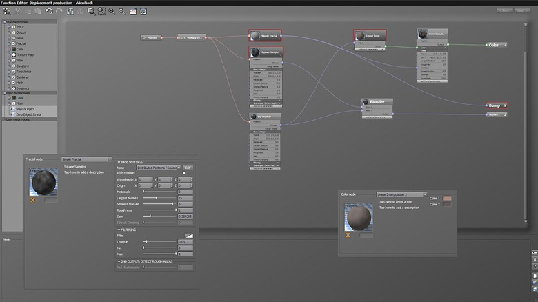 Node setup for AlienRock material with settings of the distributed patterns/square samples and the linear interpolation