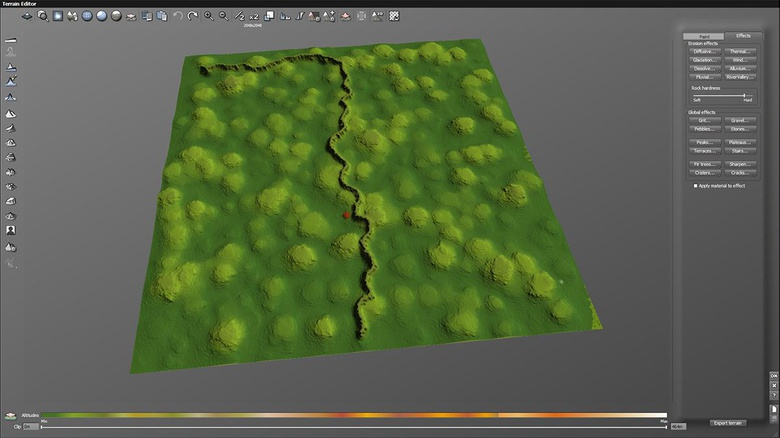 Terrain editor preview of the terrain with the river valley erosion applied