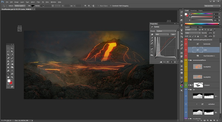 Using a combination of layers and adjustment layers, artists can work almost completely non-destructively, leaving plenty of room for revisions