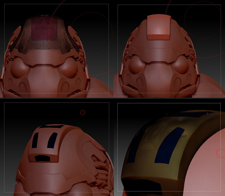 Adding extra detail with head vents, using Polypaint masking