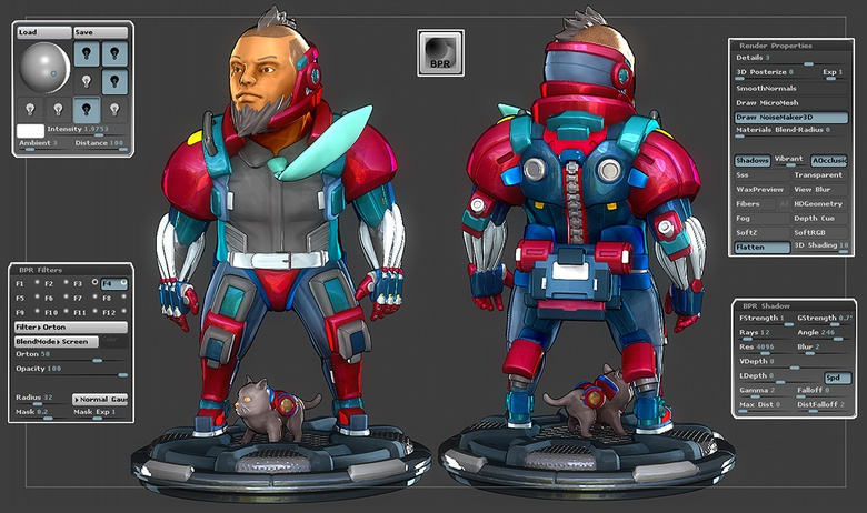 You can render your characters in ZBrush for presentation