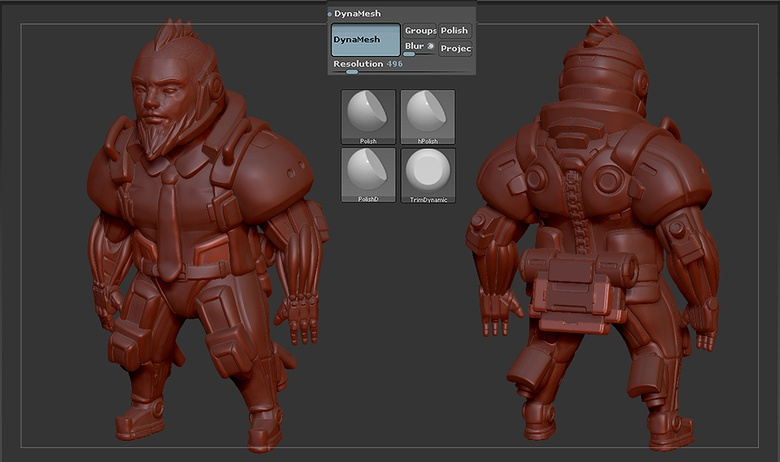 Creating a brush for the spine and refining armor parts