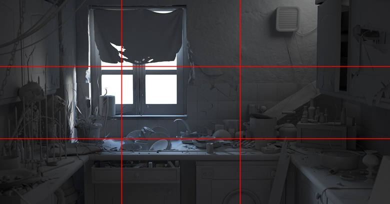 I have tried to place the most important horizontal lines of my composition along the lines of the rule of thirds grid