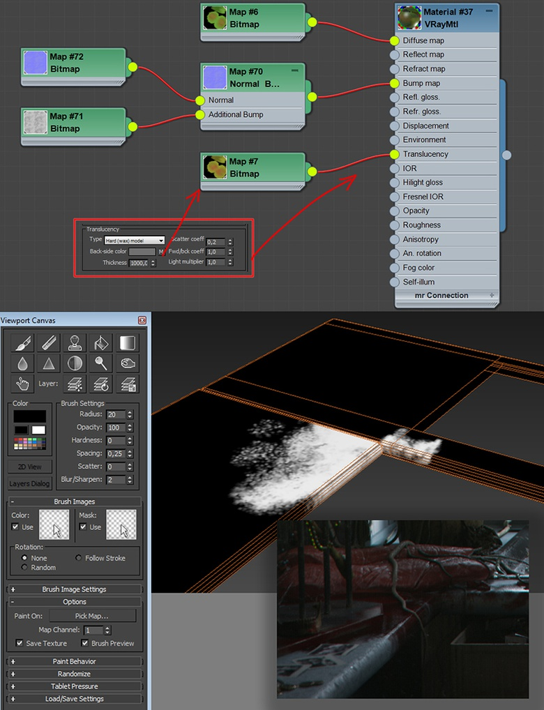 Translucency settings for the leaf material, and painting black/white masks in 3ds Max; the white area is where the VrayBlendMtl blood material will show up in the render