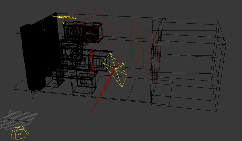 My primary and secondary light sources are in yellow and the planes to obtain my desired lighting effects are in red