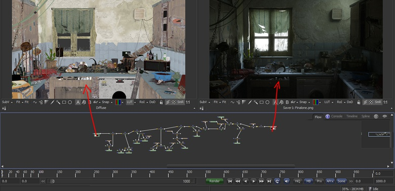 The first Fusion node contains only the diffuse color pass; the last node contains the final compositing, in between is all the work done to achieve the final look