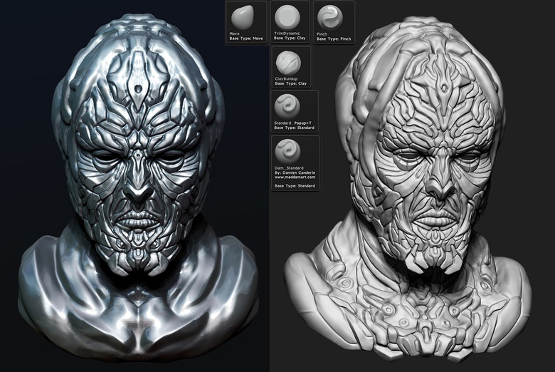 The initial sculpt (left) and the final sculpt (right)