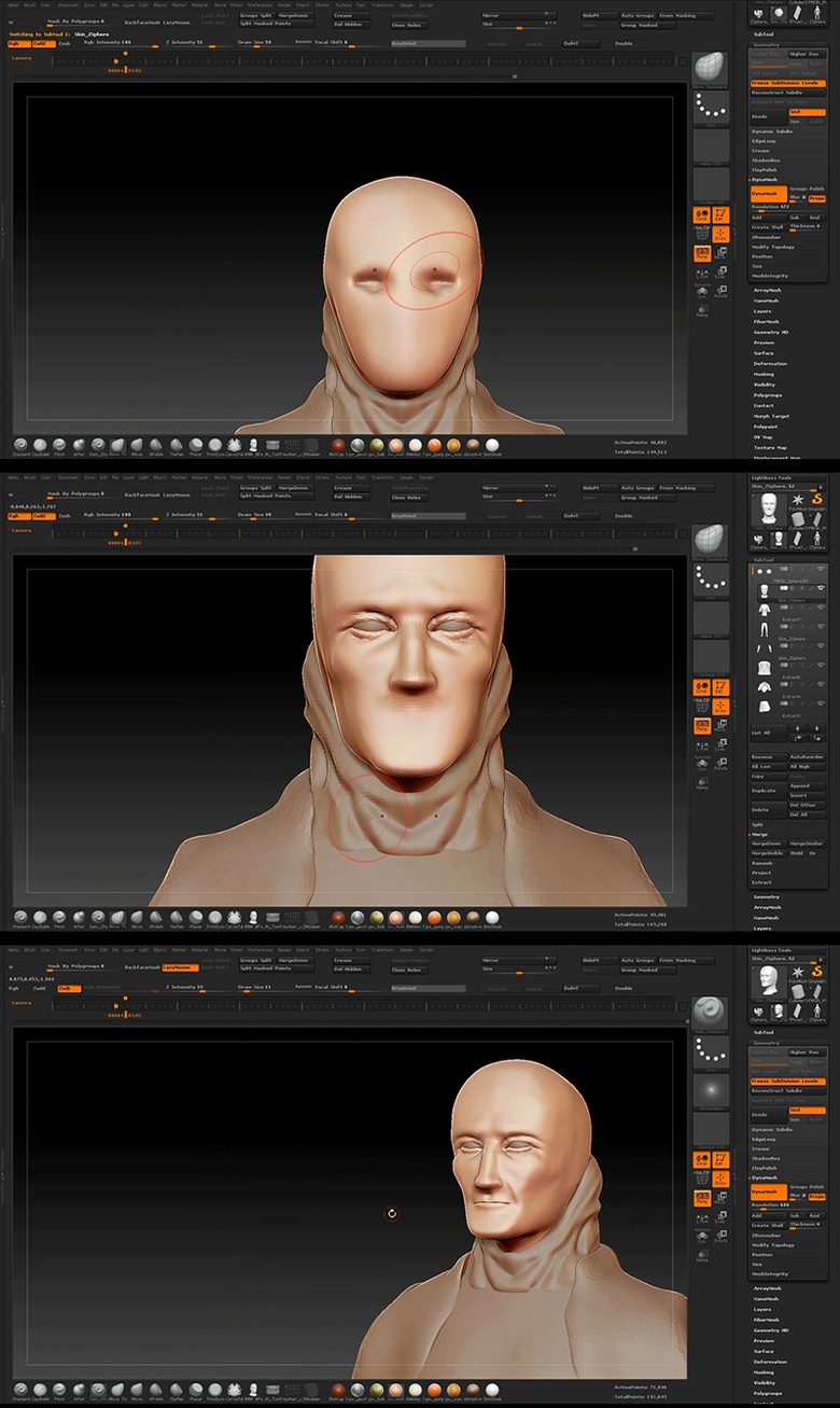 Sculpting the visible parts of the face