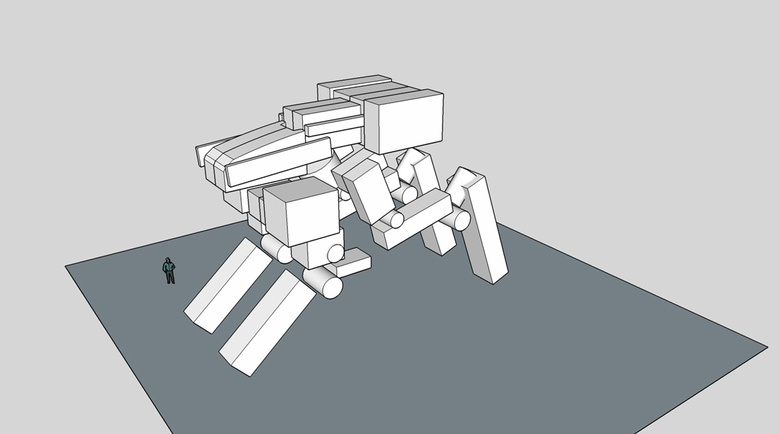 Fig.4a - The basic block-out of the mech design