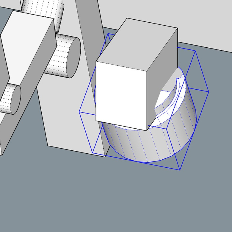 Fig.6c - Cutting geometry with BoolTools