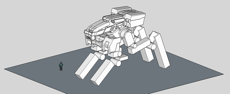 Fig.7a - Adding handle and arch details to the mech