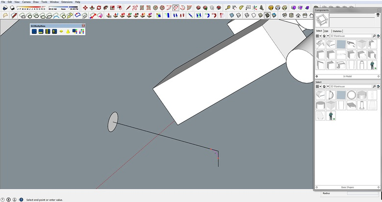 Fig.7b - Creating handles with the Follow Me tool