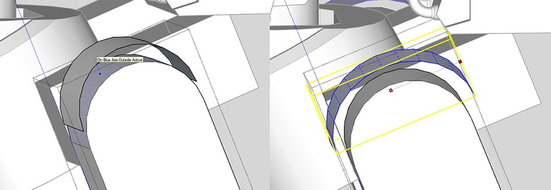 Fig.7c - Duplicating and enlarging an existing face to create the arch piece