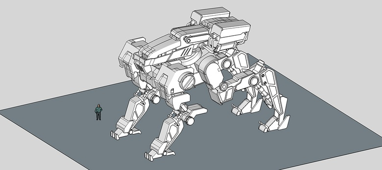The mech's detail level at this stage