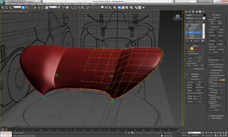 Tidying up the geometry where TurboSmooth has misshaped the asset