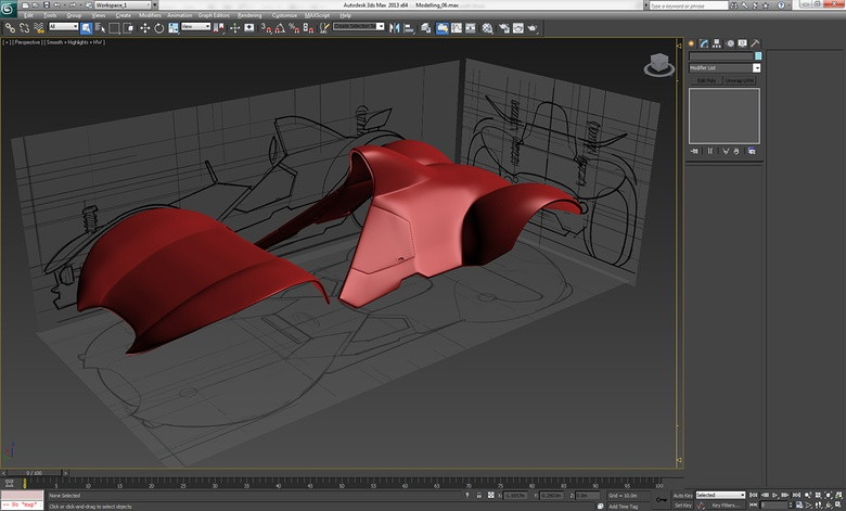 Continuing to model the shell of the vehicle