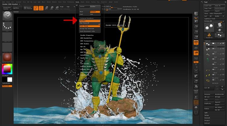 Enable the KeyShot bridge in the Render menu in ZBrush.