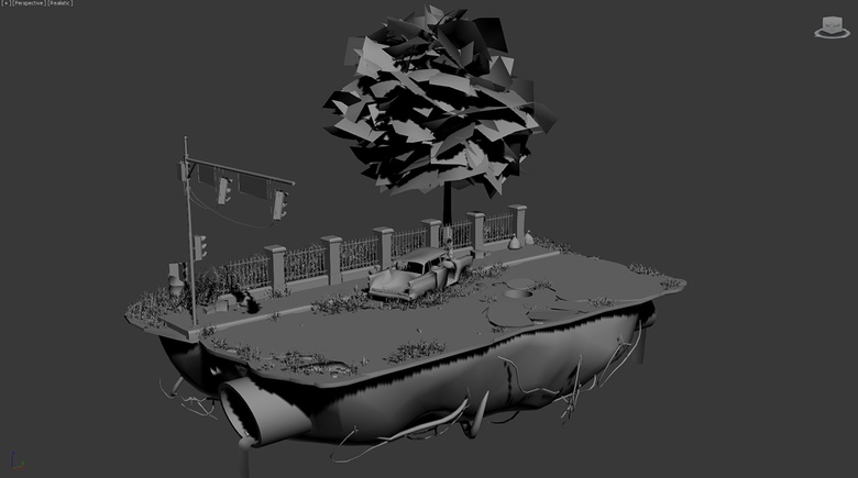 The finished scene ready for texturing and exporting to Marmoset