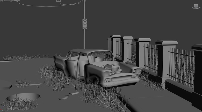 A rusty old car to create the feeling of an abandoned environment
