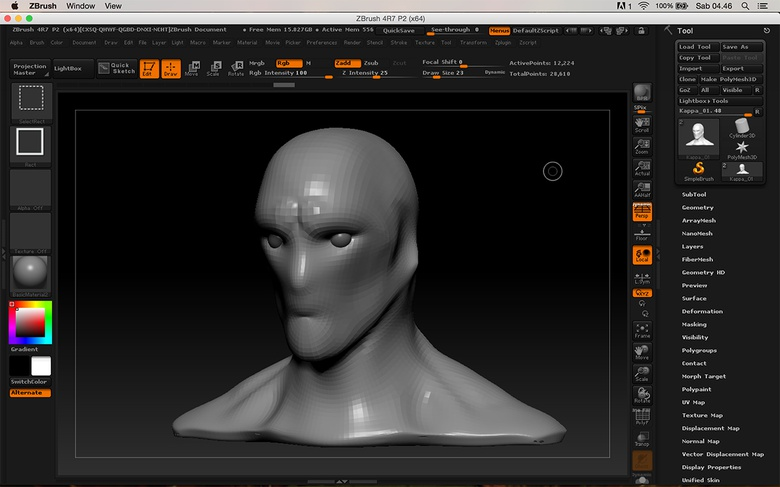 Making the initial rough sculpt using a sphere