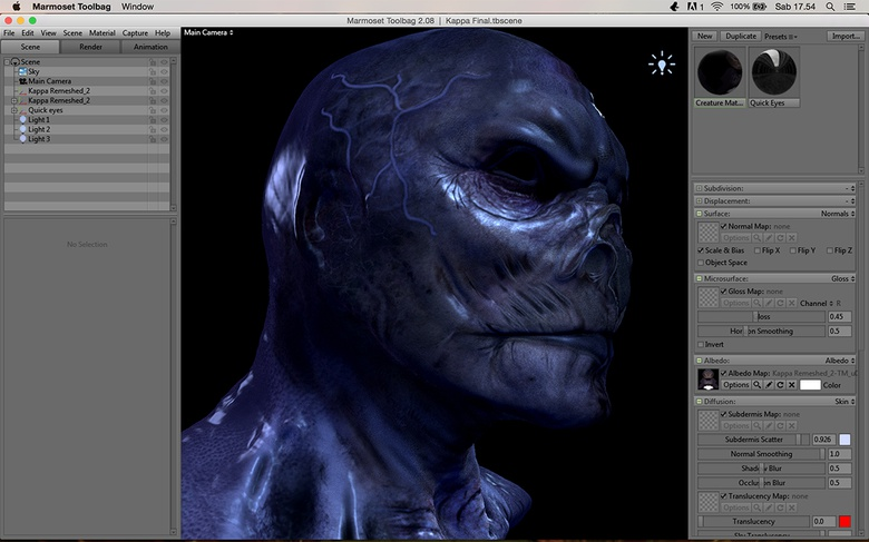 Shading, lighting and preparing the final images in Marmoset Toolbag and Photoshop