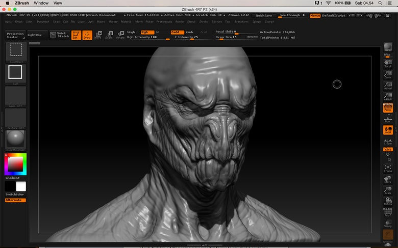 Starting to refine the facial features and to sculpt minor shapes