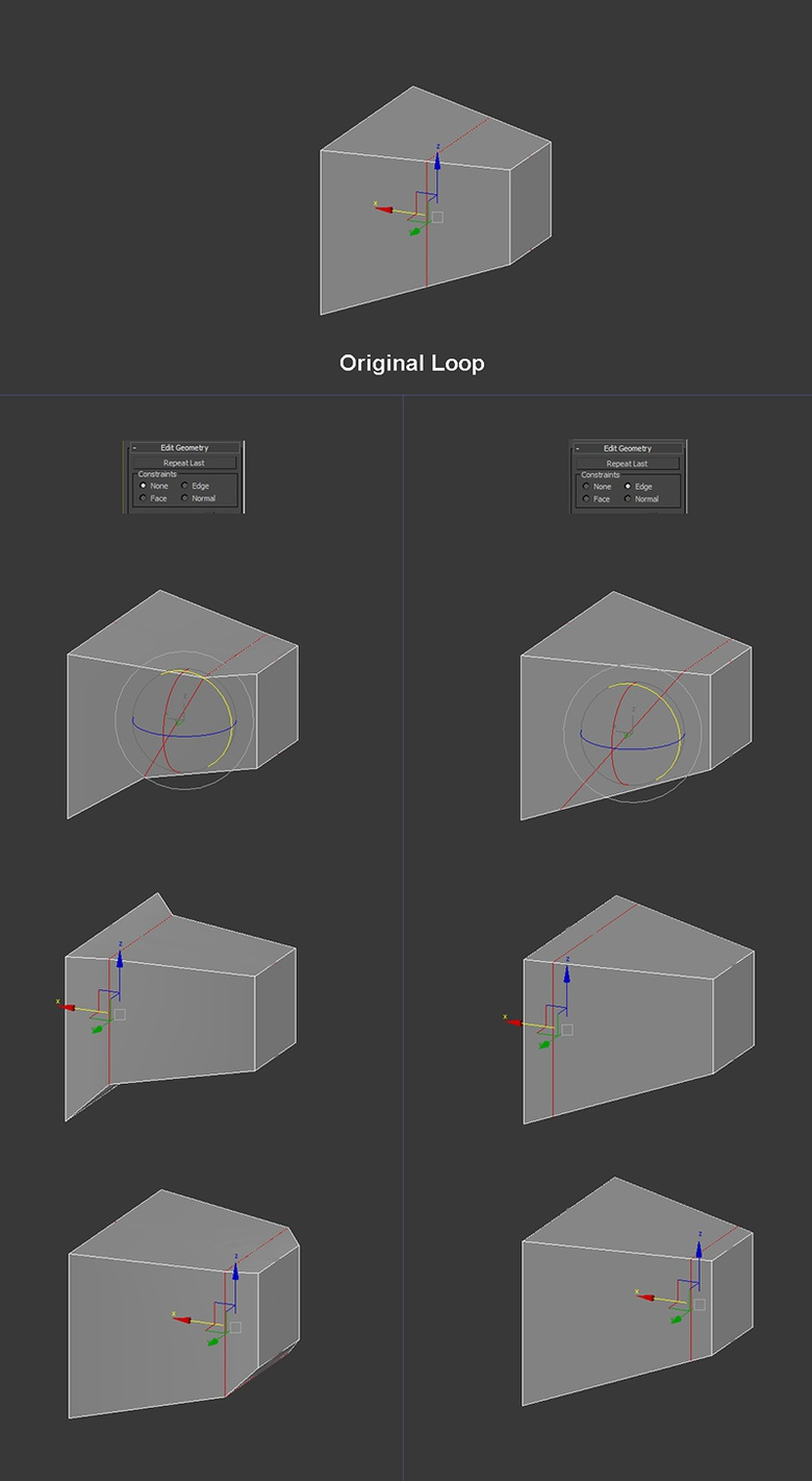 Use Constraints to move, rotate or scale sub-objects by restricting the transformation to edges, faces or normals