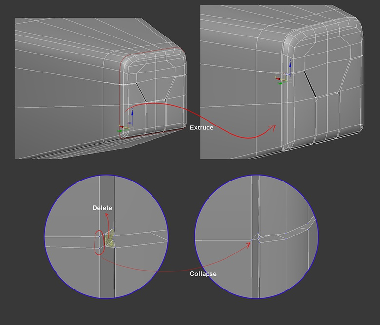 05b. Separate the front panel from the rest of the object by making an edge extrusion