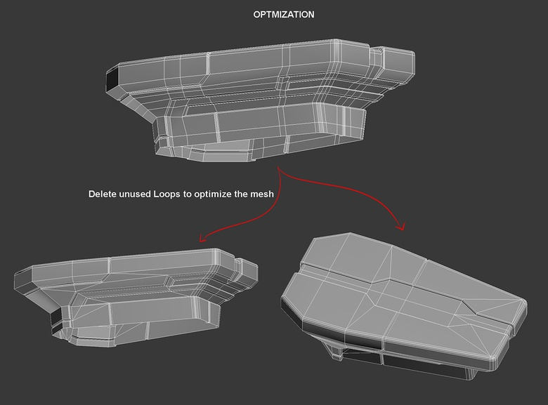 08e. To optimize the mesh, delete unused edge loops and weld vertices to kill n-gons